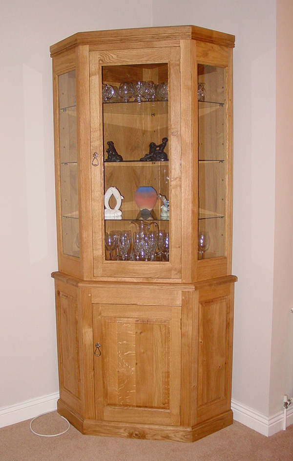Oak Glass Corner Display Cabinet